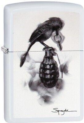 Zippo Steven Spazuk Grenade Fumage WindProof Lighter White Matte 29645 NEW L@@K