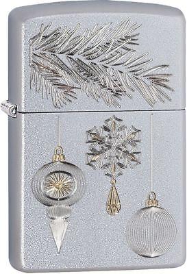 """Zippo """"Christmas Ornament"""" Satin Chrome Lighter, ***Extra Fl"""