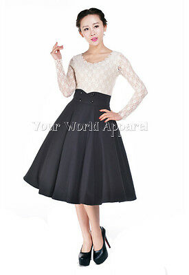 1950 Skirts (ROCKABILLY BLACK FULL CIRCLE SWING SKIRT 1950's EVENING PIN UP RETRO Club Party)