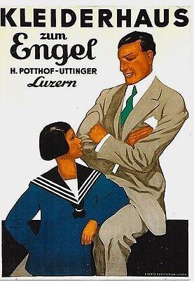 Original vintage poster ENGEL MEN'S FASHION LUCERNE c.1925