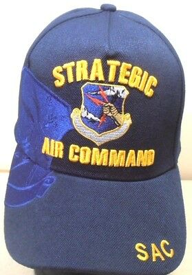 U.S. AIR FORCE MILITARY CAP STRATEGIC AIR COMMAND SAC HAT NAVYBLUE Command Military Hat