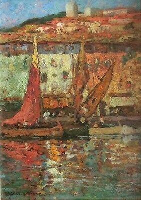 Charles dagnac-riviere 1864 - 1945 - Boats in the Port