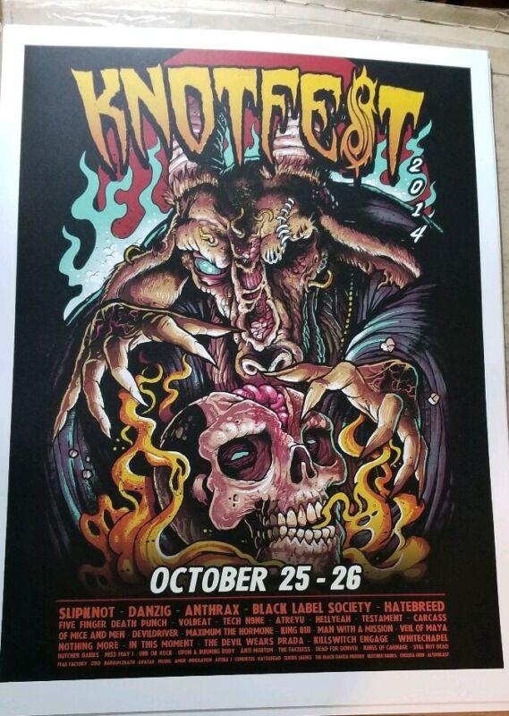 KNOTFEST 10/25/14 Concert POSTER - metal festival slipknot anthrax danzig Rare!!