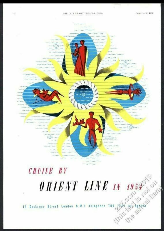 1954 Orient Line Lines cruise ship travel modern graphic design art vintage ad