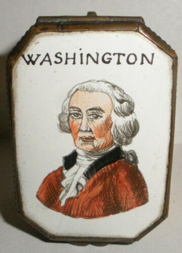 Antique 18/19thc George Washington portrait enamel Battersea trinket box