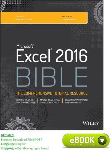 Microsoft Excel 2016 Bible English. Read description