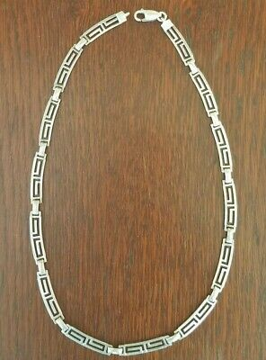Vintage Mexico Sterling Silver Aztec Art Deco Design Necklace 16