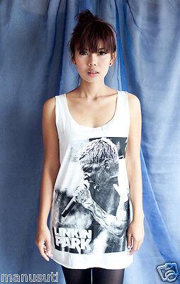 Linkin Park Chester Bennington POP ART oo WOMEN T-SHIRT DRESS Tank Top Size S M