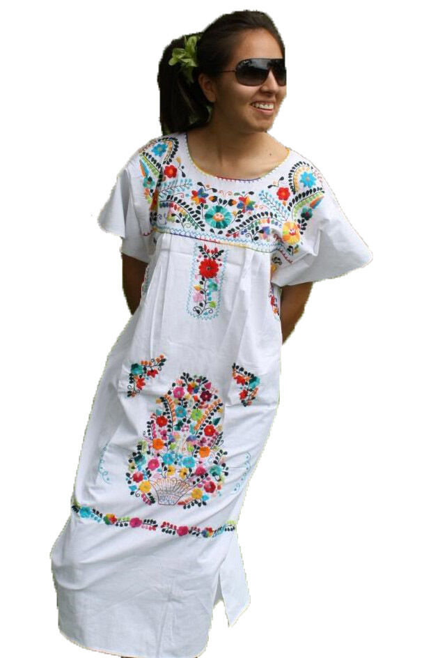 White Boho Vintage Style Hand Embroidered Tunic Mexican Dres
