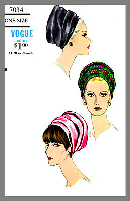 Vintage Vogue Women's Hat Turban Head cover Fabric material sew  pattern # 7034