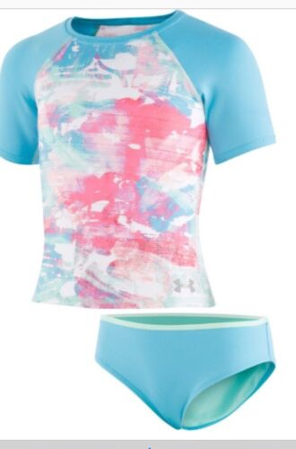 Under Armour Girls Rash-guard Swim Set, Aqua Blue Watercolor