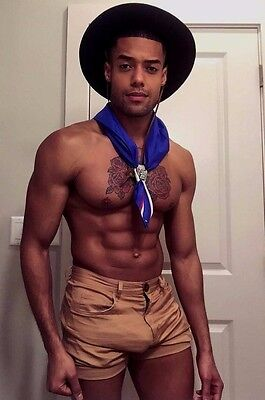 Shirtless Male African American Muscular Hunk Scout Costume PHOTO 4X6 D1259