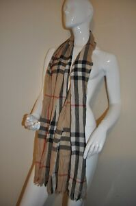 NWOT BURBERRY Giant Nova Check Crinkle Wool Cashmere Scarf With Fringe Women's