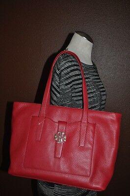 NWT $495+ Tory Burch PLAQUE RED KIR ROYALE Leather TOTE Shoulder Handbag Bag