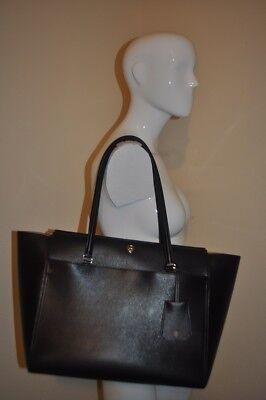 NWOT $298+ Tory Burch Parker Leather Shoulder Tote Bag BLACK Leather Logo NEW