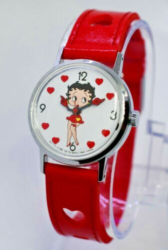Vintage 1985 Betty Boop Mechanical (Wind Up) Heart Watch, Betty