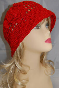 Great-Gatsby-Party-20s-20s-Flapper-Hat-Bell-Cloche-Vintage-FLOPPY-Style-RED