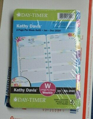 Day-timer Kathy Davis 2020 Planner Refill 2 Page Per Week Size 4 Floral Pink New