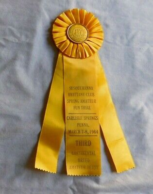 AMERICAN KENNEL CLUB Carlisle Pa 1964 Yellow Dog Puppy Ribbon 3rd place