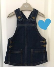 Next Denim Pinafore Dress 3-6 months