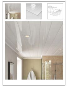 Ancona Double White Gloss ceiling panels 2x4m + 1x2.84m. 25cm wide. 2.71m2 approx.