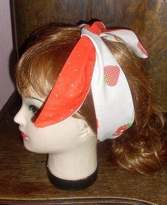 - Haarband: Polka Dots, Strawberry rot-weiß  *handmade* (Rot Polka Dot Bandana)