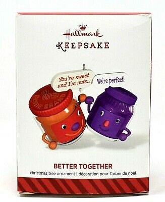RARE NEW 2014 HALLMARK BETTER TOGETHER PEANUT BUTTER & JELLY CHRISTMAS ORNAMENT