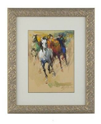 """Wei Tai (Chinese / American) Watercolor Horses Painting  24""""x20"""" Framed"""