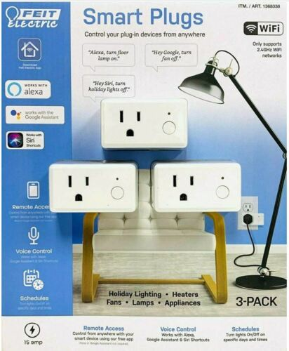 Feit Electric Wifi Smart Plug Alexa or Google Home 3Pack - BRAND NEW - FAST SHIP