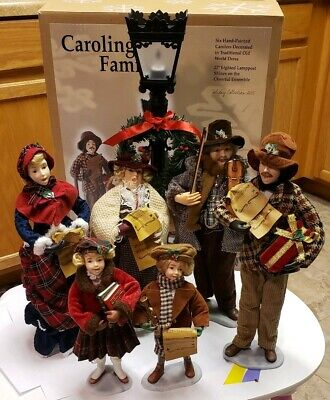 Christmas Display- Caroling Family- 6 Ceramic figures Flickering light- Village Christmas Carolers Figures