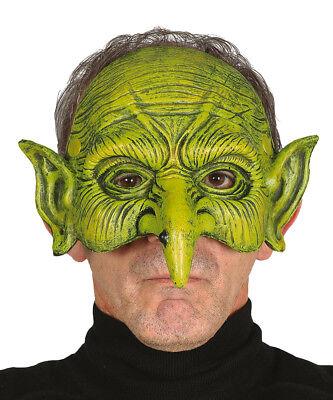 askenkostüm Maske Halloween Kobold Orc halbes Gesicht NEU (Grünes Gesicht Maske Halloween)