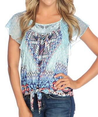 NEW - One World Printed Knit & Chiffon Flutter Sleeve Tie-Hem Top ()