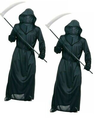 Mens Halloween Grim Reaper Costume No Face Full Robe Adults Fancy Dress Outfit