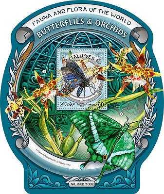 MALDIVES 2016 BUTTERFLIES ORCHIDS BUTTERFLY FLOWERS ODD SHAPE UNUSUAL S/S 305