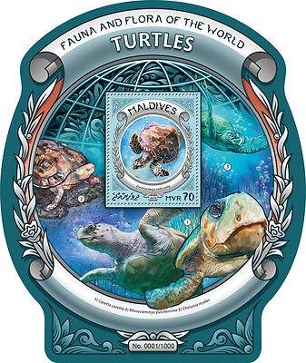 MALDIVES 2016 TURTLES FAUNA TURTLE ODD SHAPE UNUSUAL S/S MLD16308