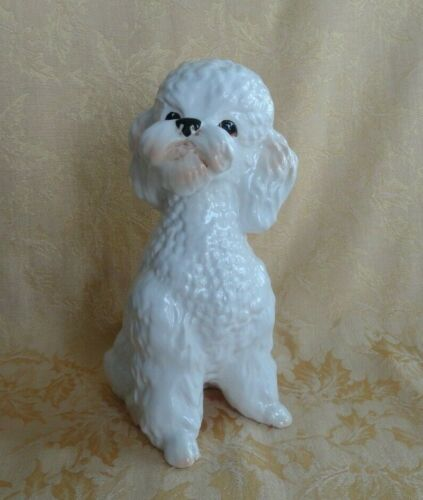 "Vintage White Large SylvaC Pottery Poodle Dog Figure No 5031 8 1/4"" Tall"