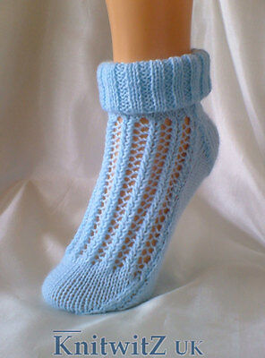 Easy Sock Knitting Patterns - Easy Knit Sock Knitting Pattern/Instructions to knit Ladies Lace By Knitwitz