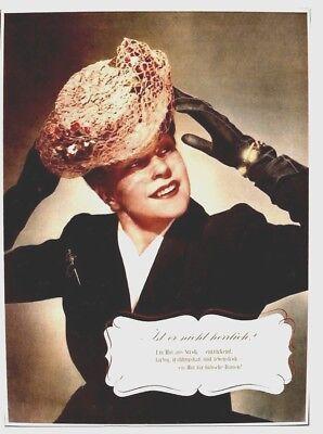 Original vintage poster SUMMER HAT SWISS FASHION STORE c.1940