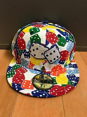 NEW ERA DICE FITTED HAT CAP ALL OVER PRINT RETRO 59FIFTY  MEN SZ 7-8  A