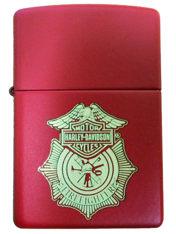 Zippo Harley Davidson Firefighter Red Matte Windproof Lighter NEW RARE
