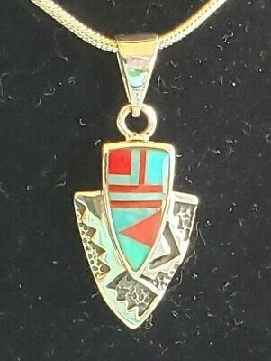 925 Sterling Silver Arrowhead Turquoise Coral Pendant with Italian Snake Chain Coral Snake Pendant
