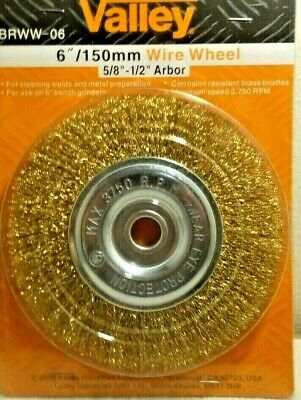 Wire Wheel Brush 6 Inch X 12-58 Arbor Wire Bristles Brass Coated