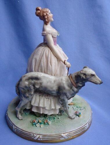 """vintage BORZOI Luigi Fabris lace lady Italy 8"""" dog"""