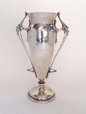 Rose Vase Solid Sterling Silver Arts & Crafts Planished Charles Edwards 1905