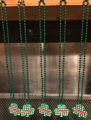 BUDWEISER Beer ~ LOT OF 5 ~ ST PATRICKS Day SHAMROCK ~ MARDIS GRAS Beads
