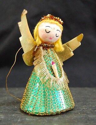 RARE Vintage Christmas Angel Ornament Spun Cotton/Tinsel/Mesh Japan *Ephemera*