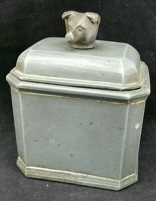 Vintage Heavy Pewter Tea Caddy With Bears Head Finial,  4 3/8