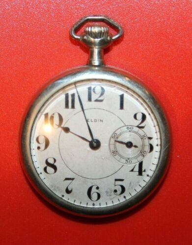 Antique 1905 Grade 290 Model 6 Elgin 16s 7j SILVERODE CASE POCKET WATCH WORKING