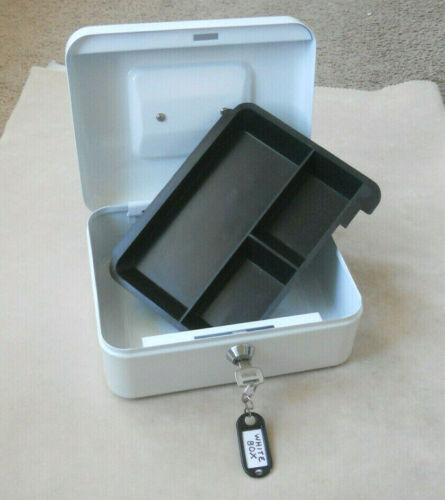 Small Cash Box with Money Tray and Lock WHITE