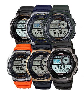 Casio Ae1000w Mens Black Resin Band 5 Alarm Chronograph World Time Watch